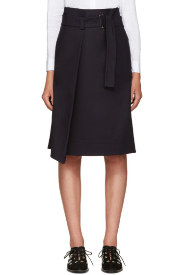 Jil Sander Navy - Navy Cotton Belted Skirt