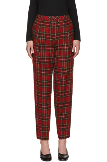 Rosetta Getty - Red Wool Tartan Trousers