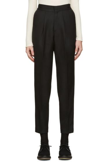 Hyke - Black Wool Tapered Trousers