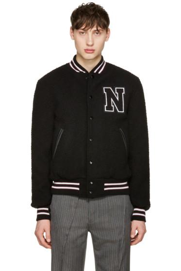 Noah NYC - Black Wool Teddy Varsity Bomber Jacket