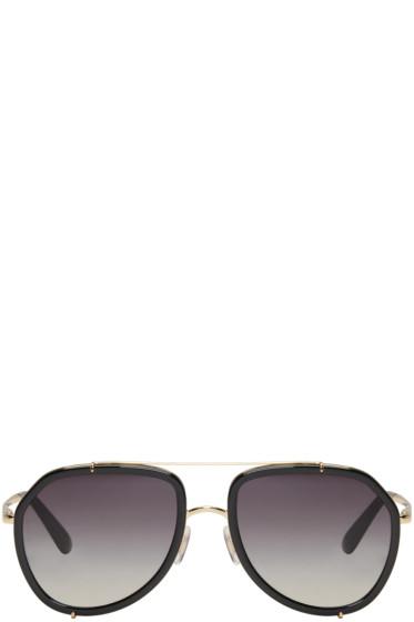 Dolce & Gabbana - Black & Gold Double Bridge Sunglasses