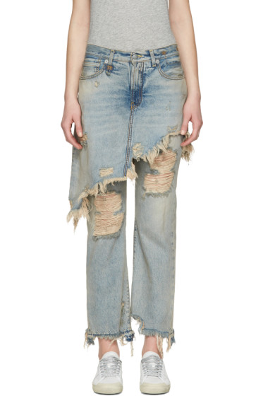 R13 - Blue Double Classic Shredded Jeans