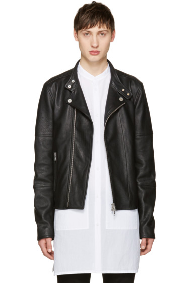 Diesel Black Gold - Black Leather Biker Jacket