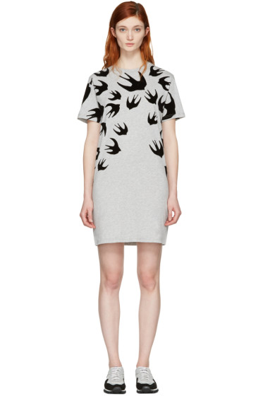 McQ Alexander McQueen - Grey Swallows T-Shirt Dress