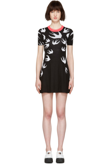 McQ Alexander McQueen - Black Wool Jacquard Swallows Dress