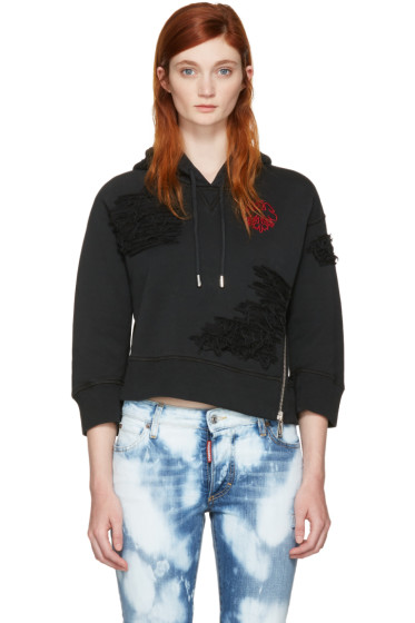 Dsquared2 - Black Cropped 'Keep The Faith' Hoodie