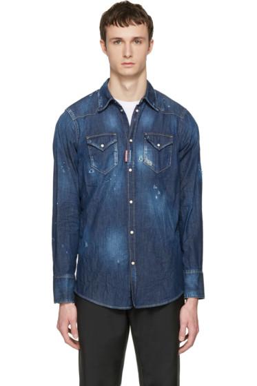 Dsquared2 - Blue Denim Military Shirt