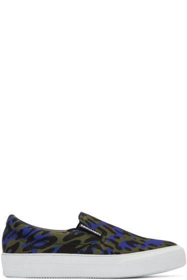 Dsquared2 - Blue Glam Camo Slip-On Sneakers