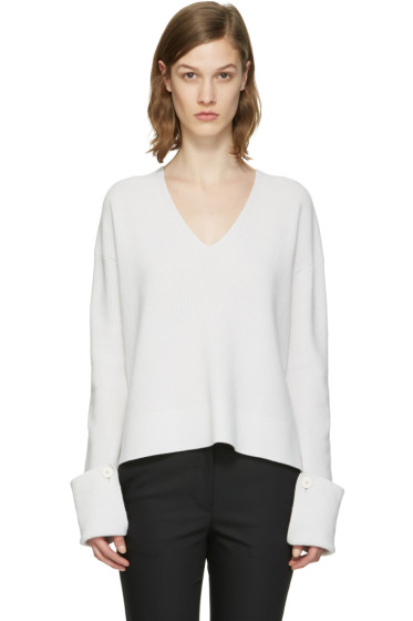 Helmut Lang - Grey V-Neck Sweater