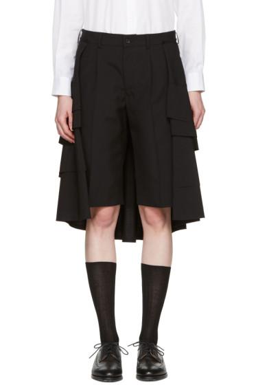 Comme des Garçons - Black Wool Ruffle Skirt Shorts