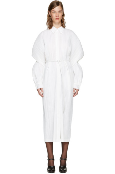 Jil Sander - White Belted Plissé Dress