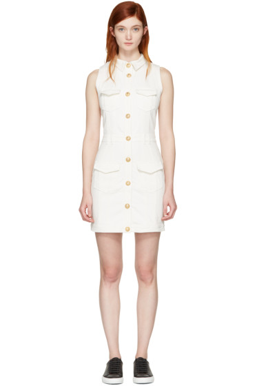 Balmain - White Denim Four Pockets Dress