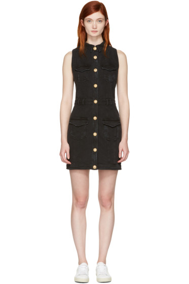 Balmain - Black Denim Four Pockets Dress