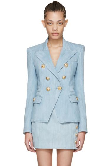 Balmain - Blue Denim Six-Button Blazer