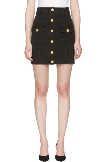 Balmain - Black Denim Buttons Miniskirt