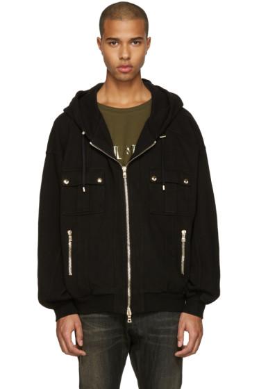 Balmain - Black Oversized Zip Hoodie