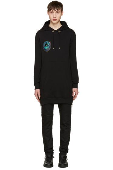 Balmain - Black Long Embroidered Hoodie