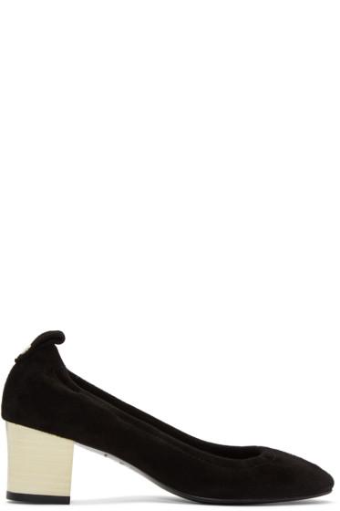 Lanvin - Black Suede Cube Heels