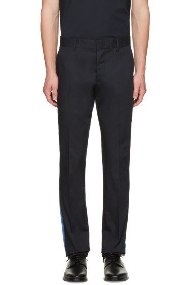 Lanvin - Navy Ribbon-Trimmed Chinos