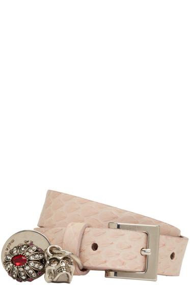 Alexander McQueen - Pink Snakeskin Fly Double-Wrap Bracelet