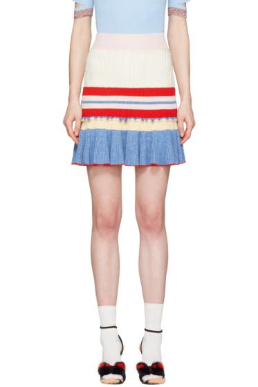Alexander McQueen - Muticolor Knit Ruffled Miniskirt
