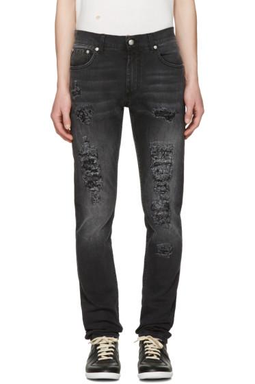 Alexander McQueen - Black Distressed Jeans
