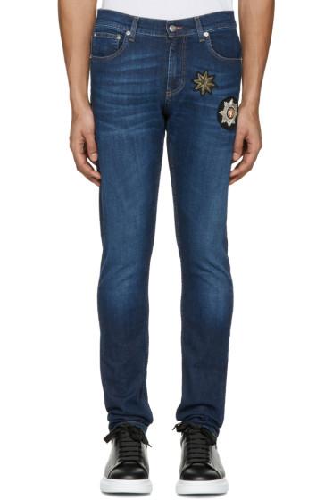 Alexander McQueen - Indigo Embroidered Badges Jeans