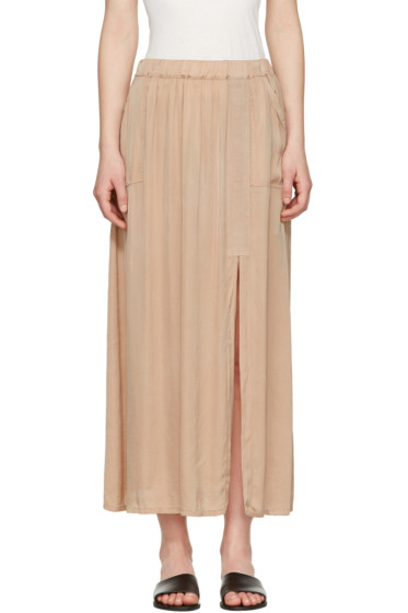 Raquel Allegra - Beige Liquid Satin Skirt