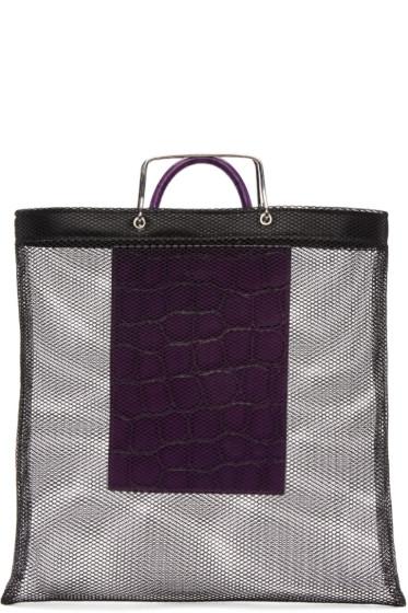 Givenchy - Black & Purple Mesh Tote