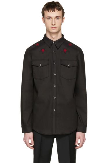 Givenchy - Black Denim Star Patch Shirt