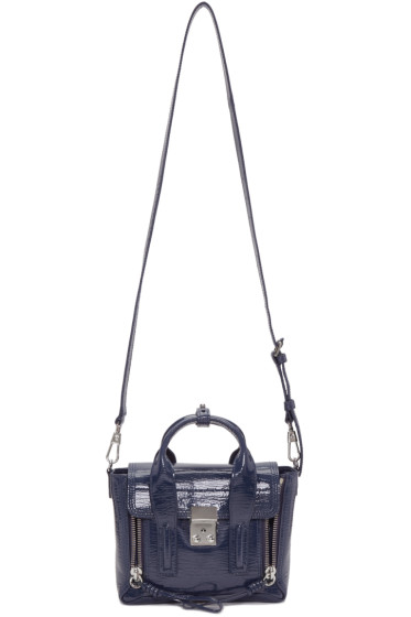 3.1 Phillip Lim - Navy Patent Leather Mini Pashli Satchel
