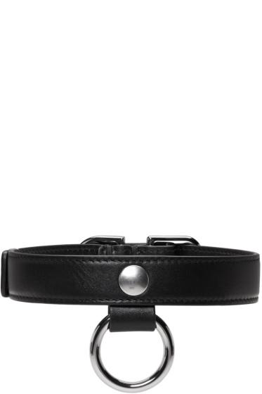 Carven - Black Leather Buckle Choker