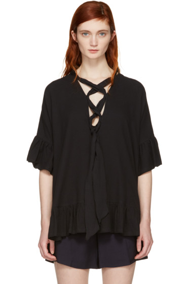 See by Chloé - Black Cotton Ruffle Blouse