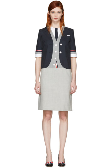 Thom Browne - Navy Selvedge Trompe L'Oeil Classic Dress