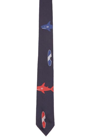 Thom Browne - Navy Shark & Surfboard Classic Tie