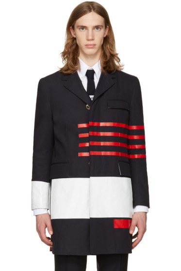 Thom Browne - Navy Unconstructed Chesterfield Coat