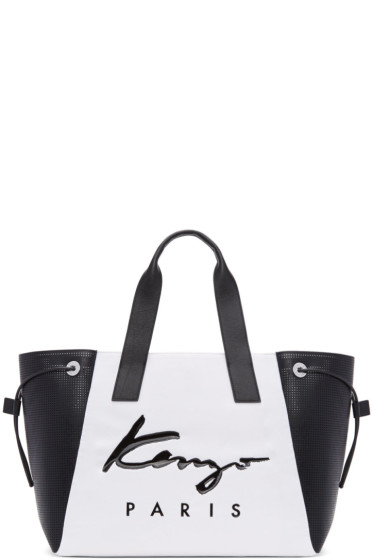 Kenzo - White & Black Large Logo Essentials Tote