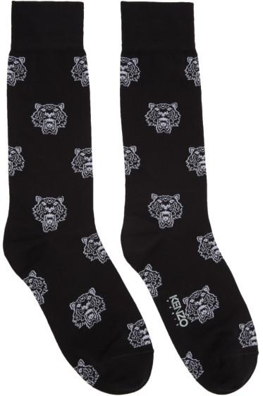 Kenzo - Black Allover Tiger Socks