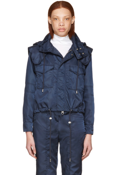 Versus - Navy Nylon Hooded Jacket