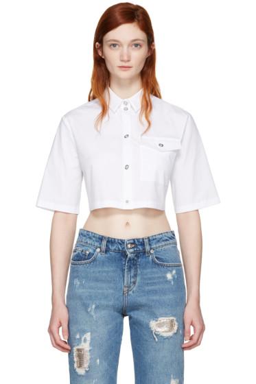 Versus - White Cropped Poplin Shirt
