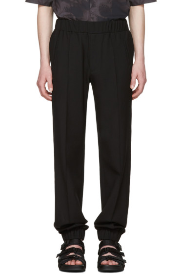 Versace - Black Wool Cuff Trousers