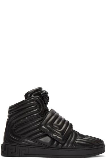Versace - Black Quilted Medusa High-Top Sneakers