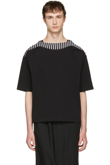 Sasquatchfabrix - Black Boatneck Cut Sew T-Shirt