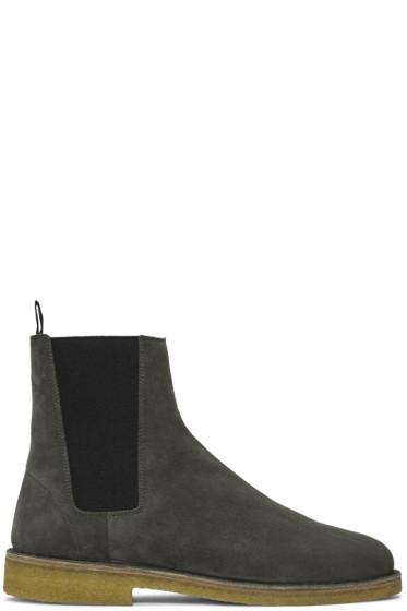 Saint Laurent - Grey Suede Nevada Boots