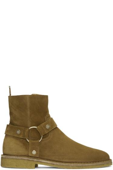 Saint Laurent - Tan Suede Nevada Harness Boots