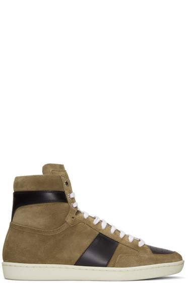 Saint Laurent - Brown Suede SL/10H Court Classic High-Top Sneakers