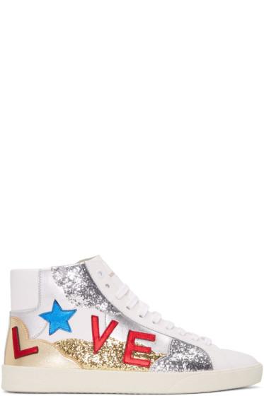Saint Laurent - White 'Love' SL/06M Court Classic High-Top Sneakers