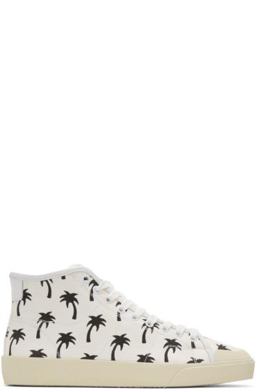 Saint Laurent - White Palm Trees SL/37 Surf Court Classic Mid-Top Sneakers
