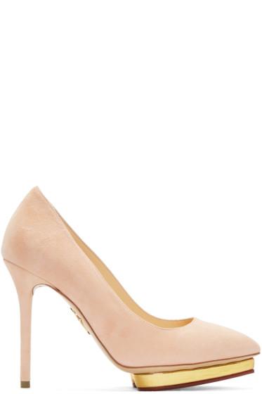 Charlotte Olympia - Pink Suede Debbie Heels