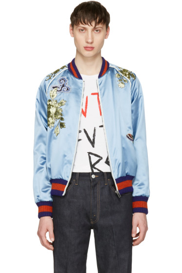 Gucci - Blue Embroidered Silk Bomber Jacket